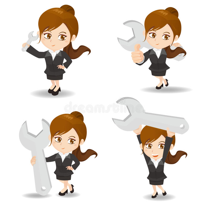 Cartoon illustration Businesswoman with wrench royalty free illustration