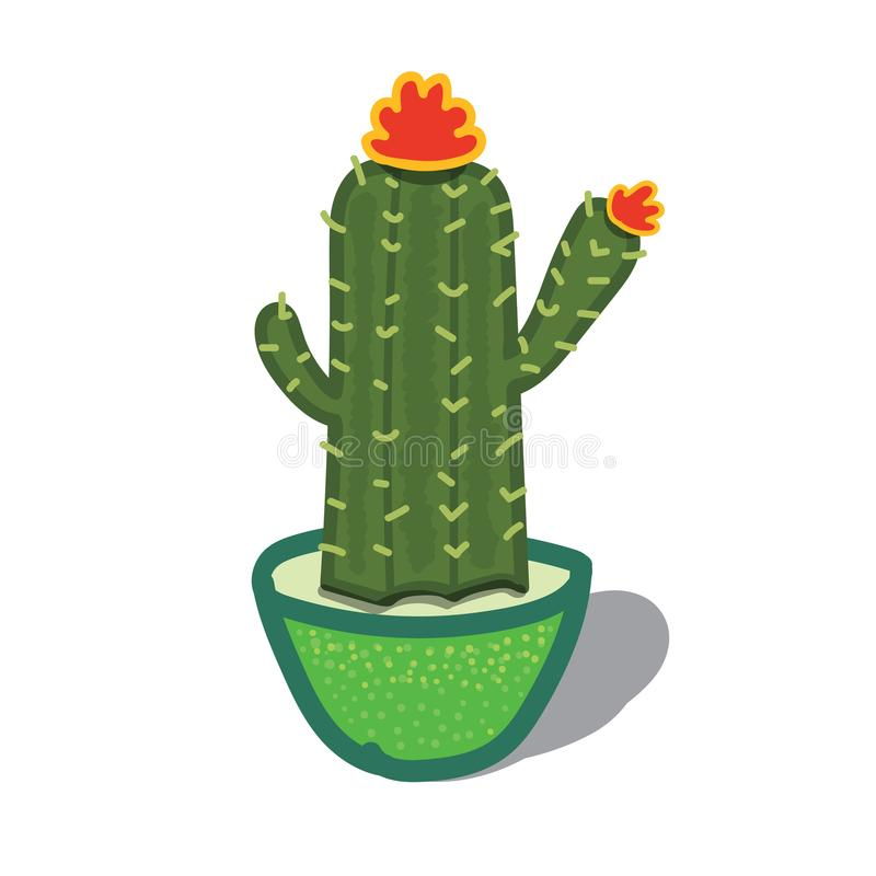 Cartoon illustration of a Cactus Tree royalty free stock photography