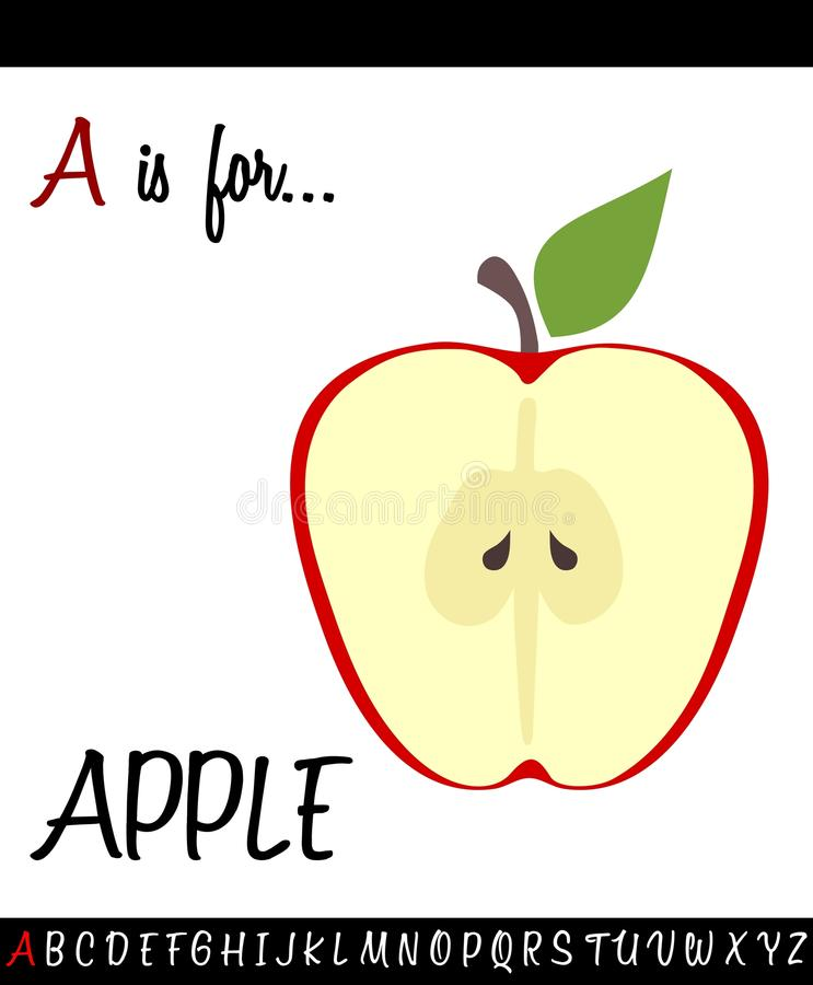 Cartoon Illustration of Capital Letter A with APPLE. For Children Education vector illustration