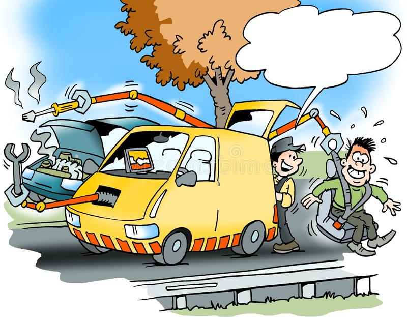 Cartoon illustration of a car service road assistance. Cartoon illustration of a roadside assistance with a car that has many modern facilities royalty free illustration