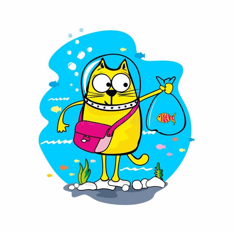 Cartoon illustration. Cat catches a fish royalty free illustration