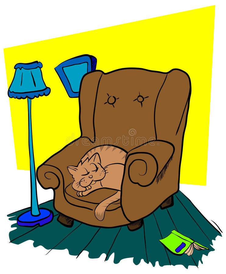 Cat Sleeping On A Chair Stock Vector Image Of Armchair 29754707