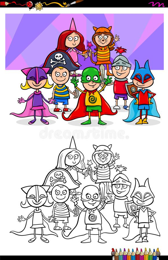 Children at the ball of costumes color book stock illustration