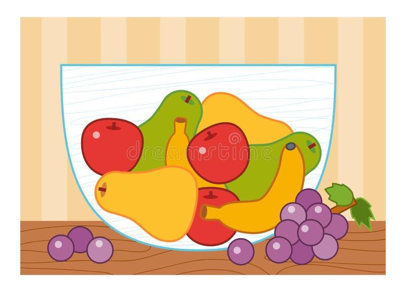 Cartoon illustration for children, colorful poster. Fruit bowl stock illustration