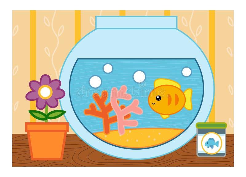 Cartoon illustration for children, colorful poster. Goldfish in a bowl. Cartoon vector illustration for children, colorful poster. Goldfish in a bowl stock illustration