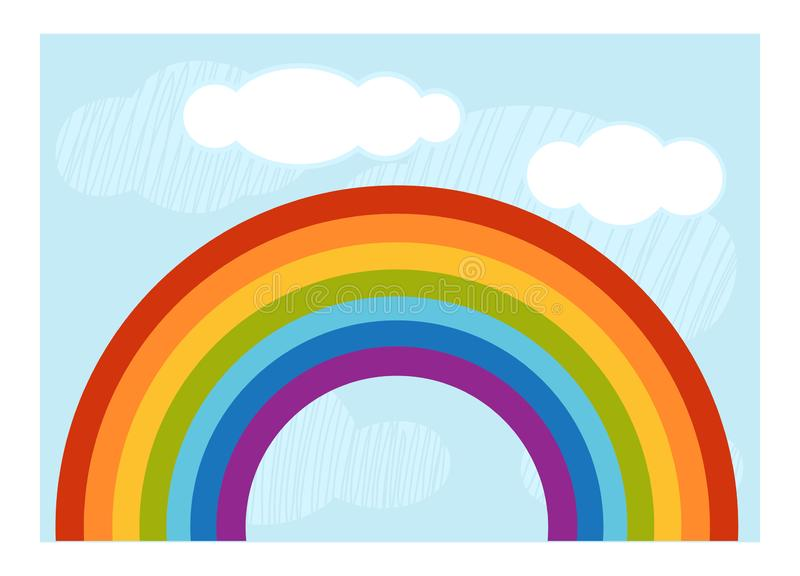 Cartoon illustration for children, colorful poster. Rainbow and clouds in the blue sky vector illustration