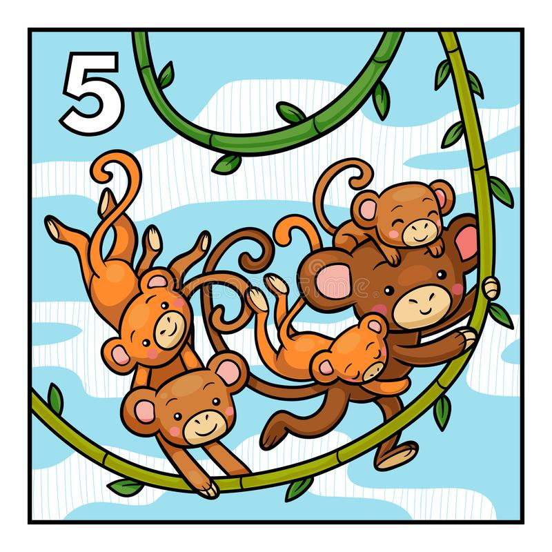 Cartoon illustration for children. Learn to count with animals vector illustration