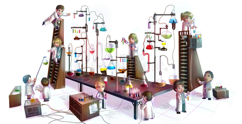 Cartoon illustration of children scientists studying chemistry,. Working and experimenting in massive chemical tower refinery laboratory with complicate test stock illustration