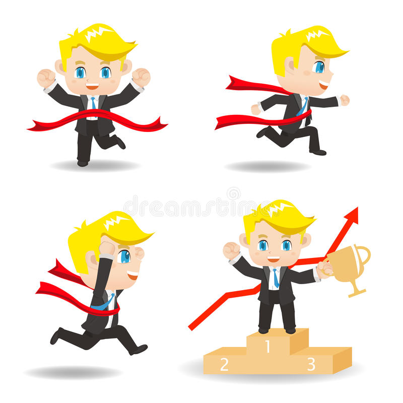 Cartoon illustration competitive Business man. Cartoon illustration set of Business man competitive,winner, ceremony royalty free illustration