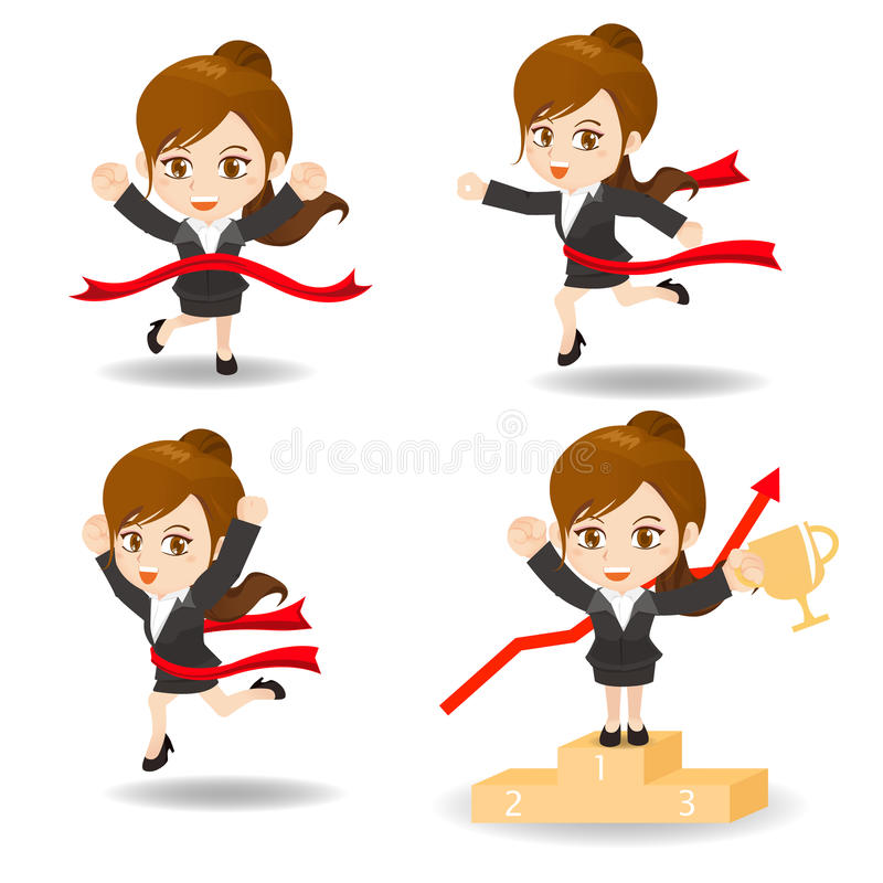 Cartoon illustration competitive Business man vector illustration