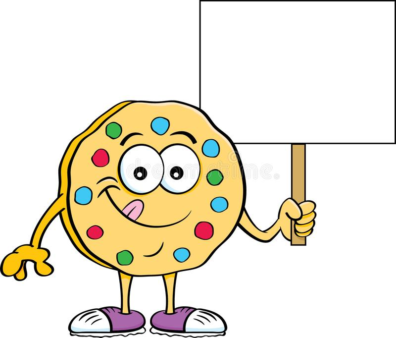 Cartoon illustration of a cookie holding a sign. Cartoon illustration of a happy cookie holding a sign royalty free illustration