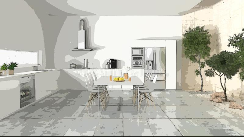 Cartoon illustration of cozy modern kitchen, interior design. Colorful background, apartment concept with furniture, digital. Painting, preliminary sketchbook stock photography