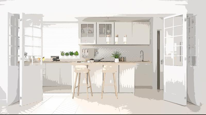 Cartoon illustration of cozy modern kitchen, interior design. Colorful background, apartment concept with furniture, digital. Painting, preliminary sketchbook royalty free stock images