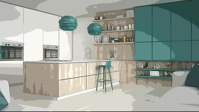 Cartoon illustration of cozy modern kitchen, interior design. Colorful background, apartment concept with furniture, digital. Painting, preliminary sketchbook stock image