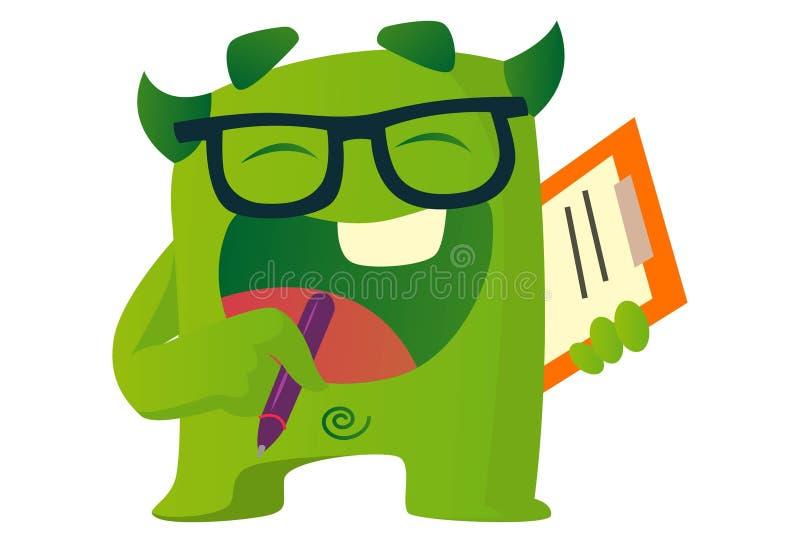Cartoon Illustration Of Cute Green Monster. stock illustration