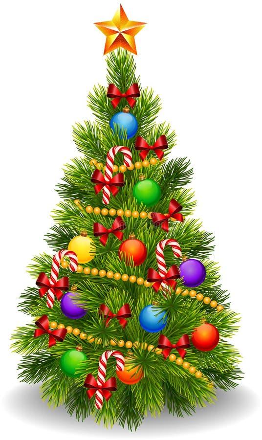 Cartoon illustration of decorated Christmas tree isolated on white background royalty free illustration