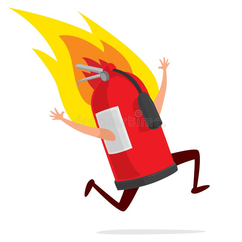 Funny extinguisher caught on fire. Cartoon illustration of desperate extinguisher running on fire royalty free illustration