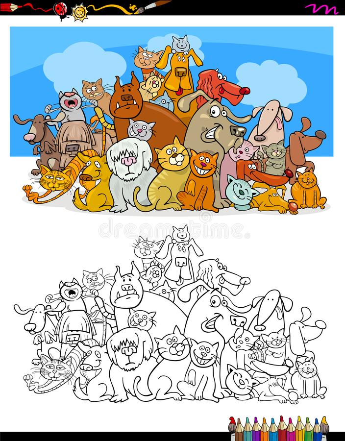 Cats and dogs characters color book stock illustration