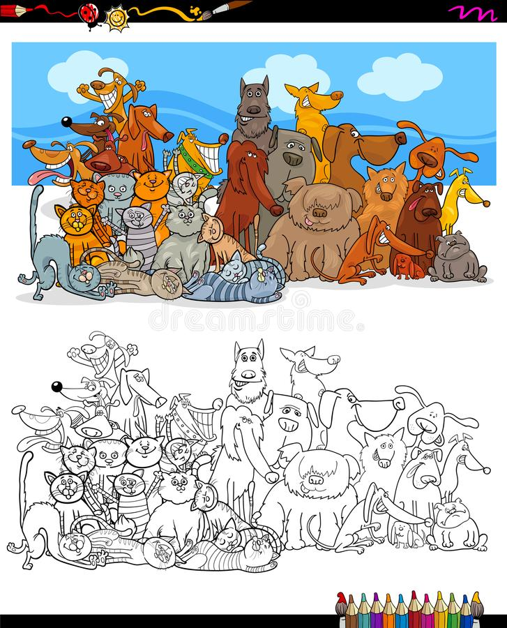 Cats and dogs characters group color book vector illustration