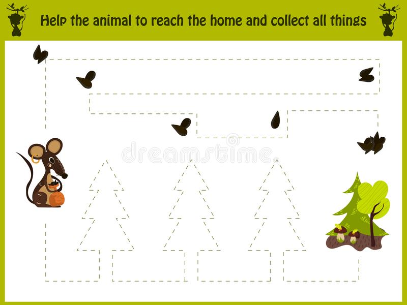 Cartoon illustration of education. Matching game for preschool kids trace the path of the mouse into the woods and. Gather all the seeds. Education and games vector illustration