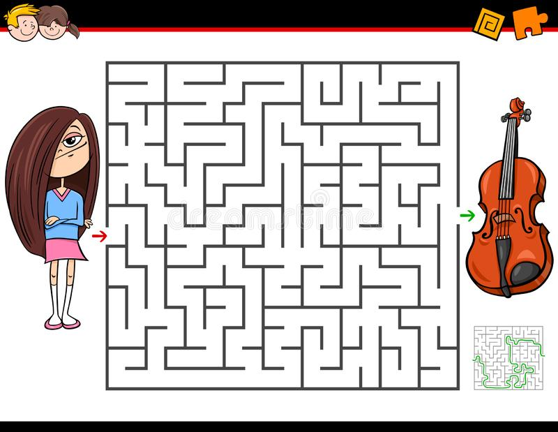 Cartoon maze game with girl and violin vector illustration