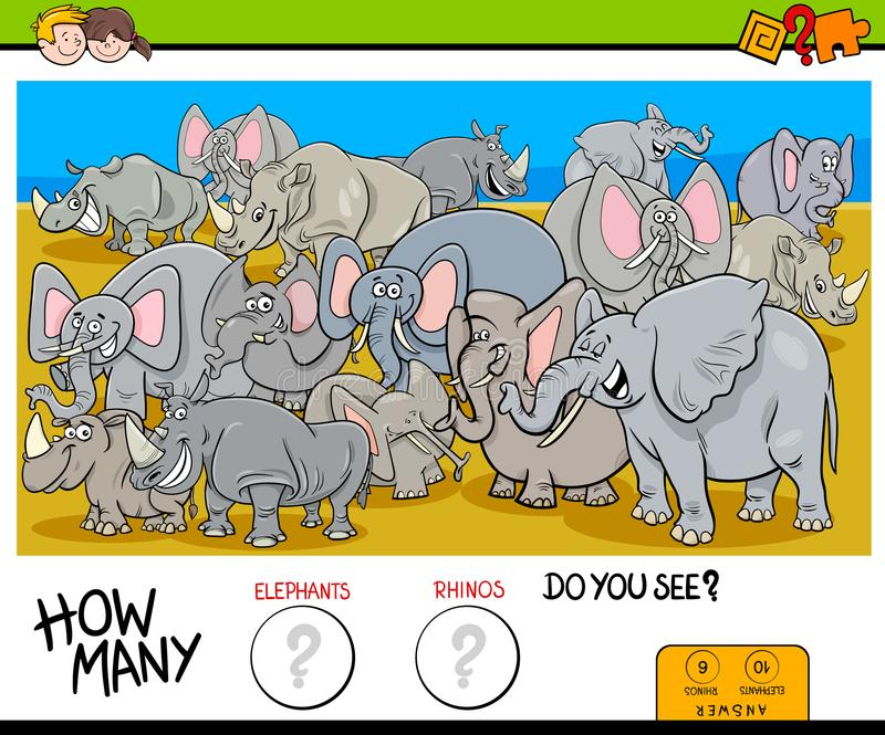 Counting elephants and rhinos game for kids. Cartoon Illustration of Educational Counting Game for Children with Elephants and Rhinos Animal Characters Group stock illustration