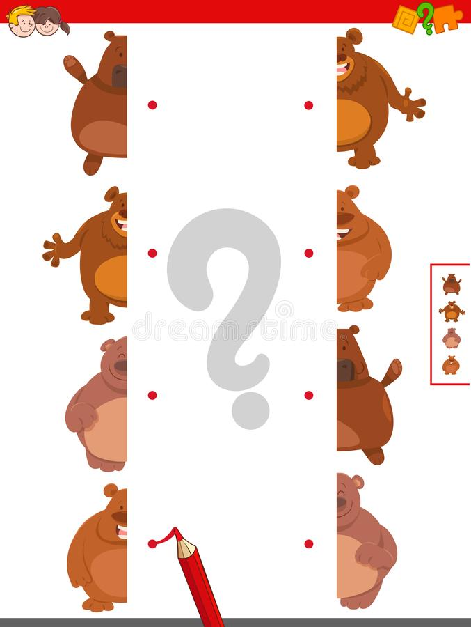Match halves of bears educational game royalty free illustration