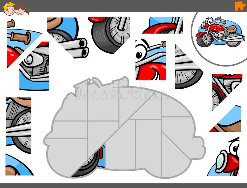 Jigsaw puzzle game with motorbike characters royalty free illustration