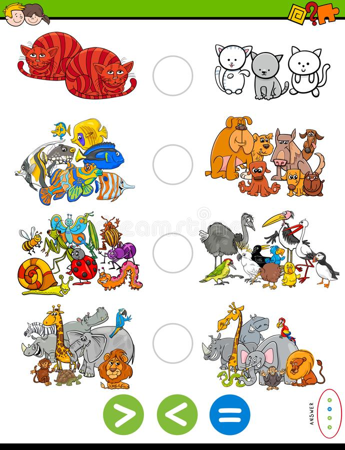 Greater less or equal task with animals. Cartoon Illustration of Educational Mathematical Puzzle Game of Greater Than, Less Than or Equal to for Children with vector illustration