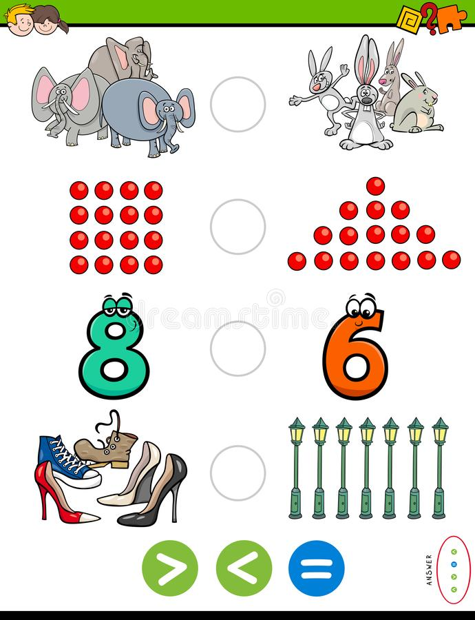 Greater less or equal educational puzzle for kids. Cartoon Illustration of Educational Mathematical Puzzle Game of Greater Than, Less Than or Equal to for stock illustration