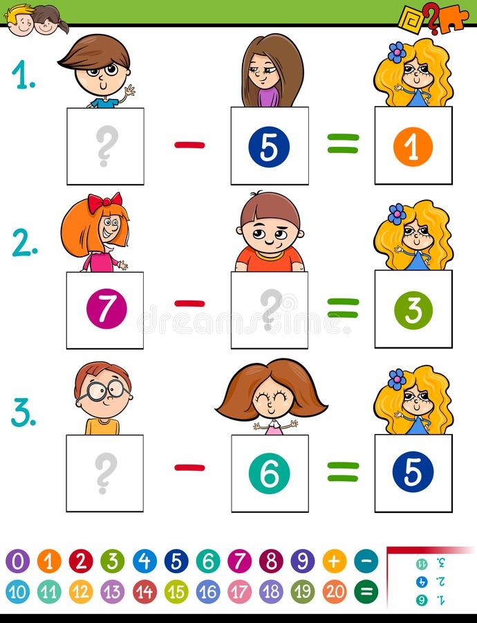 Maths Subtraction Game With Kid Characters Stock Vector ...