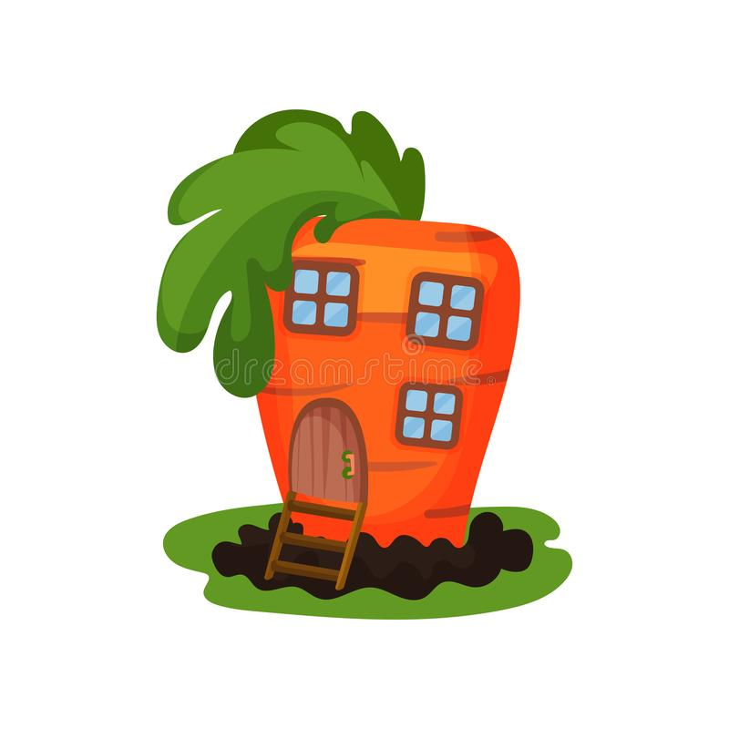 Cartoon illustration of fantasy carrot house with small windows and wooden door. Colorful flat vector design for vector illustration
