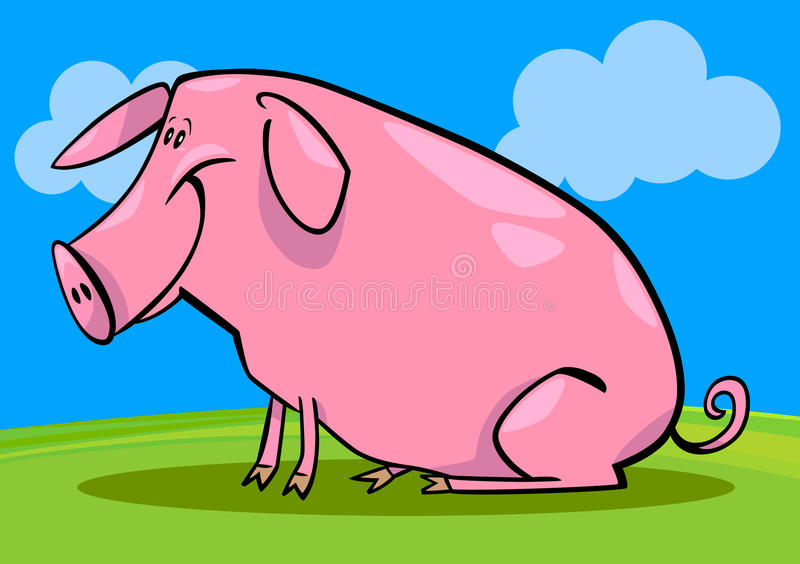 Cartoon Illustration Of Farm Pig Stock Images