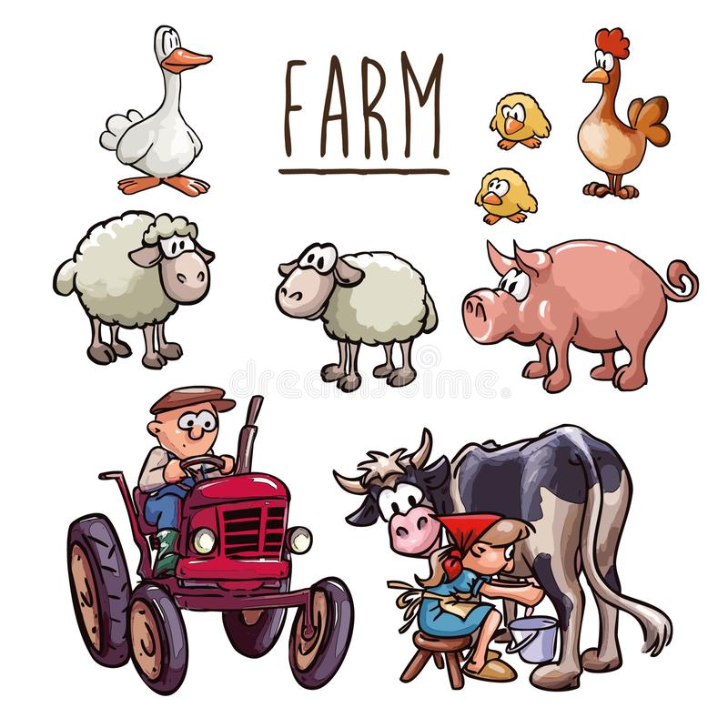 Cartoon illustration - farmer driving a tractor, a peasant woman milking cow and set of farm animals stock illustration