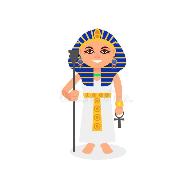 Female pharaoh with scepter and ankh cross in hands. Smiling woman in traditional Egyptian costume. Ruler of ancient stock illustration