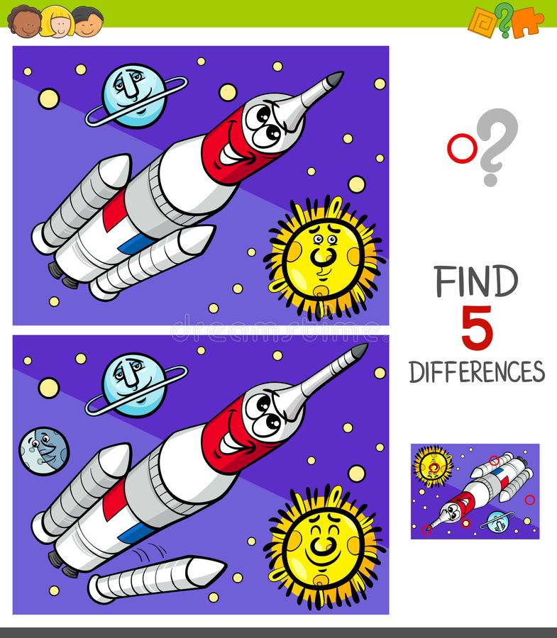 Differences game with space rocket royalty free illustration