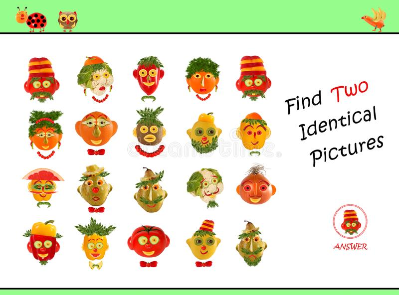 Cartoon  Illustration of Finding the Same Picture.  Educational Game for Preschool Children royalty free stock photos
