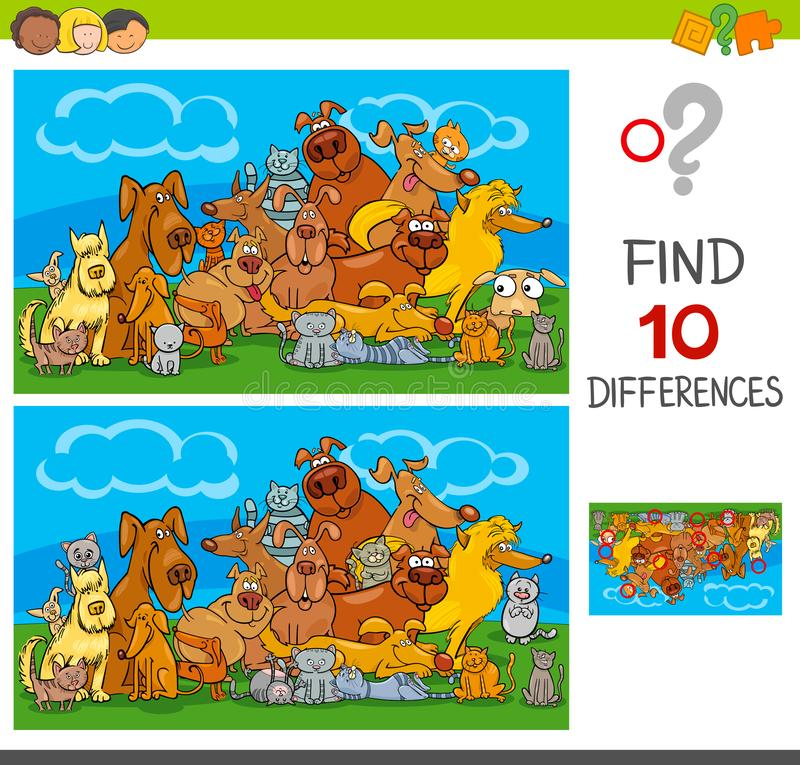 Find differences game with cats and dogs stock illustration