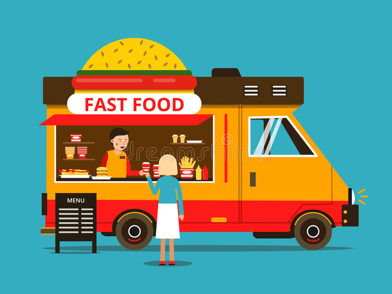 Cartoon illustration of food truck on the street. Vector pictures in flat style royalty free illustration