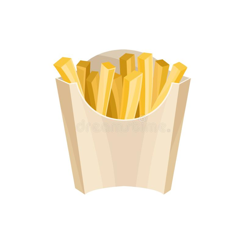 French fries in packaging box. Unhealthy nutrition. Street lunch. Flat vector design for fast food cafe, promo poster or vector illustration