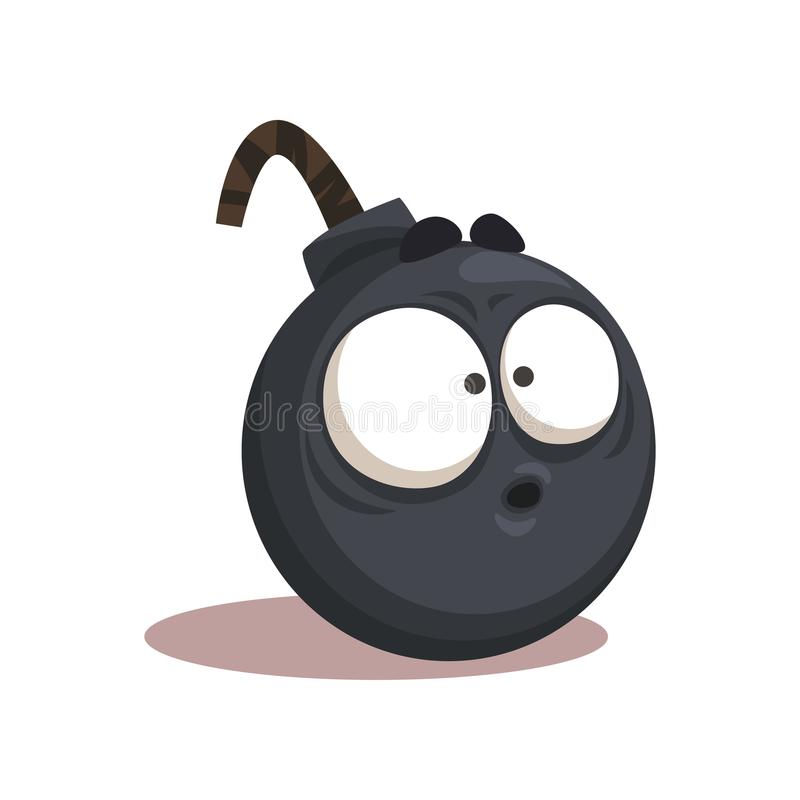 Cartoon illustration of funny bomb with surprised face expression. Isolated flat vector element for sticker, getting royalty free illustration