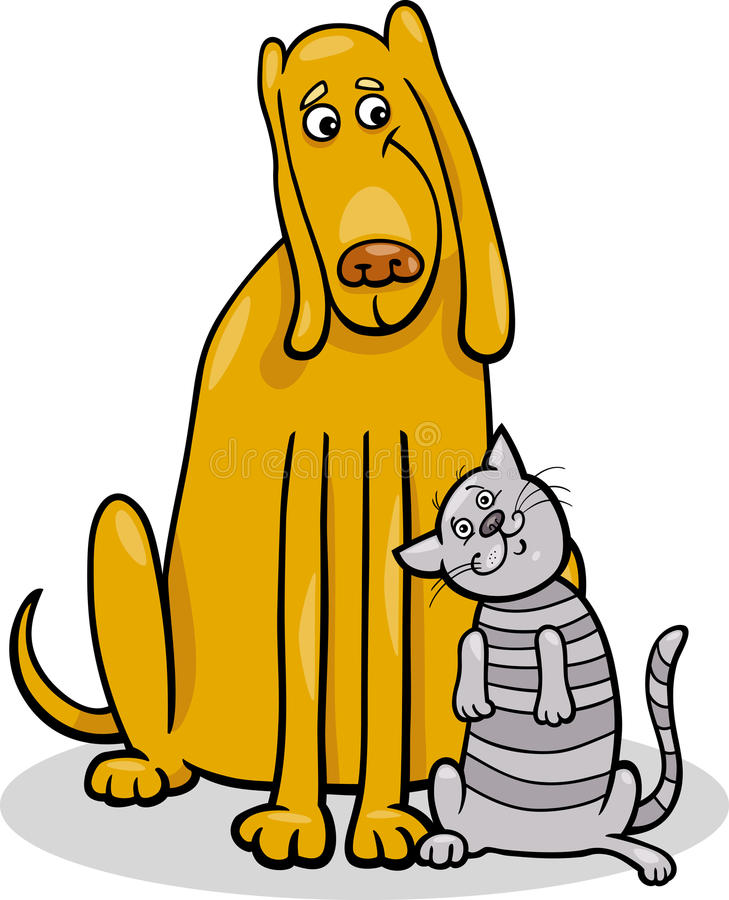 Download Dog And Cat In Friendship Cartoon Illustration Stock Vector - Image: 30036972
