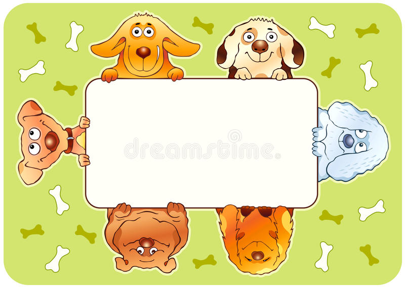 Funny dogs frame royalty free stock images