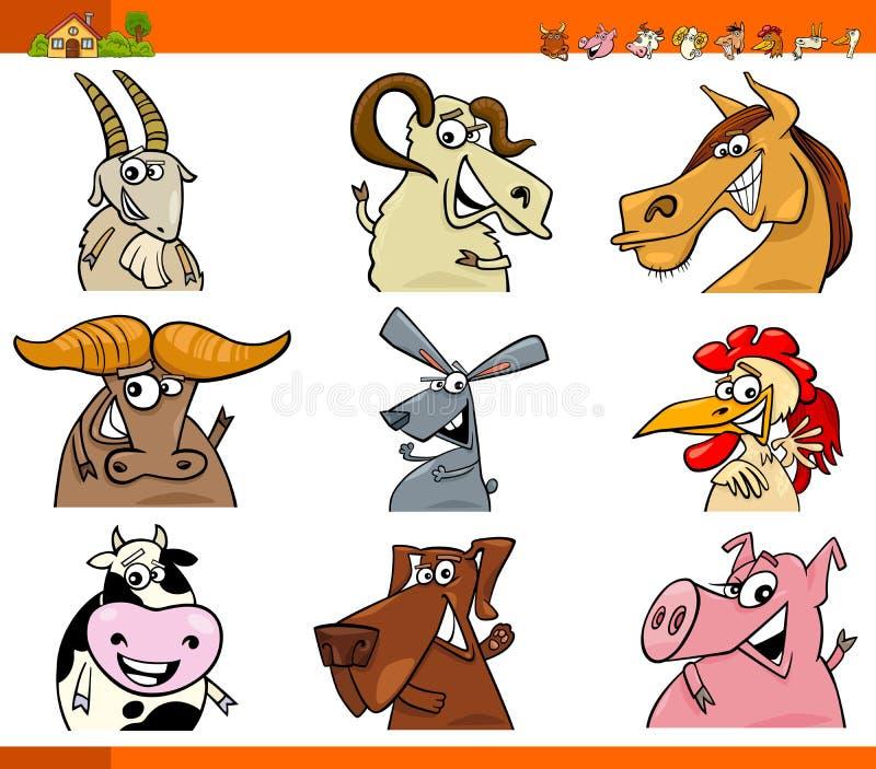 Farm animal characters cartoon set royalty free illustration