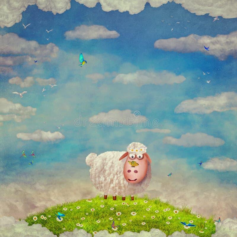 Cartoon illustration of funny happy sheep on a glade royalty free illustration