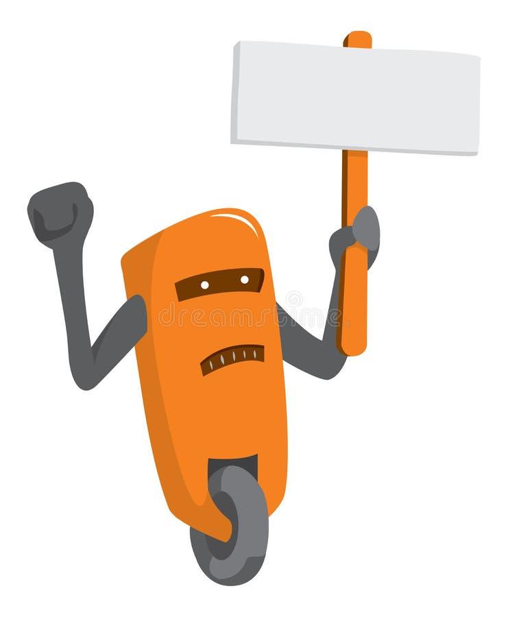 Le robot tient une pancarte pour protester contre la royauté