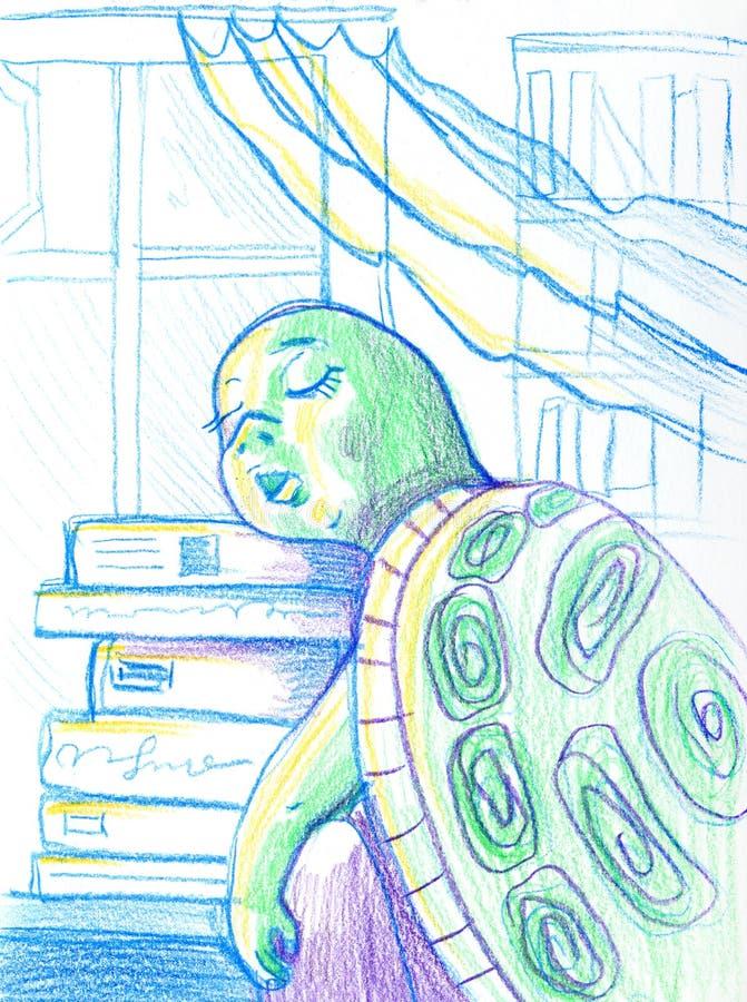 Cartoon Illustration of Funny Turtle Animal Character Sleeping in Classroom vector illustration