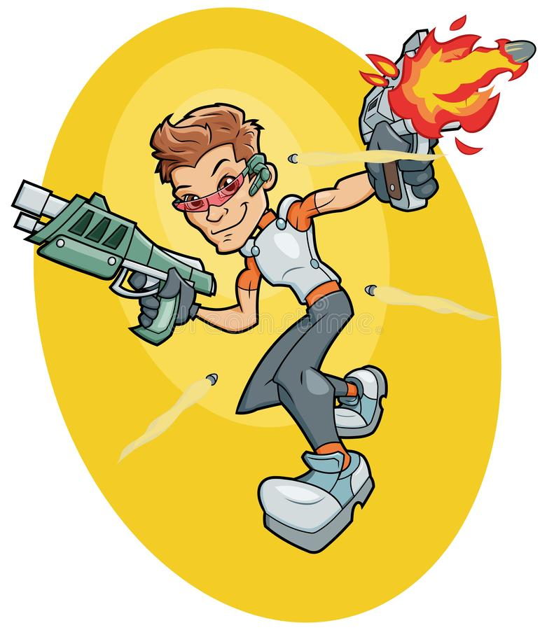 Futuristic super agent fighting. Cartoon illustration of a futuristic super agent fighting stock illustration