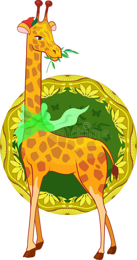 Cartoon Illustration Giraffe With Scarf Stock Photos