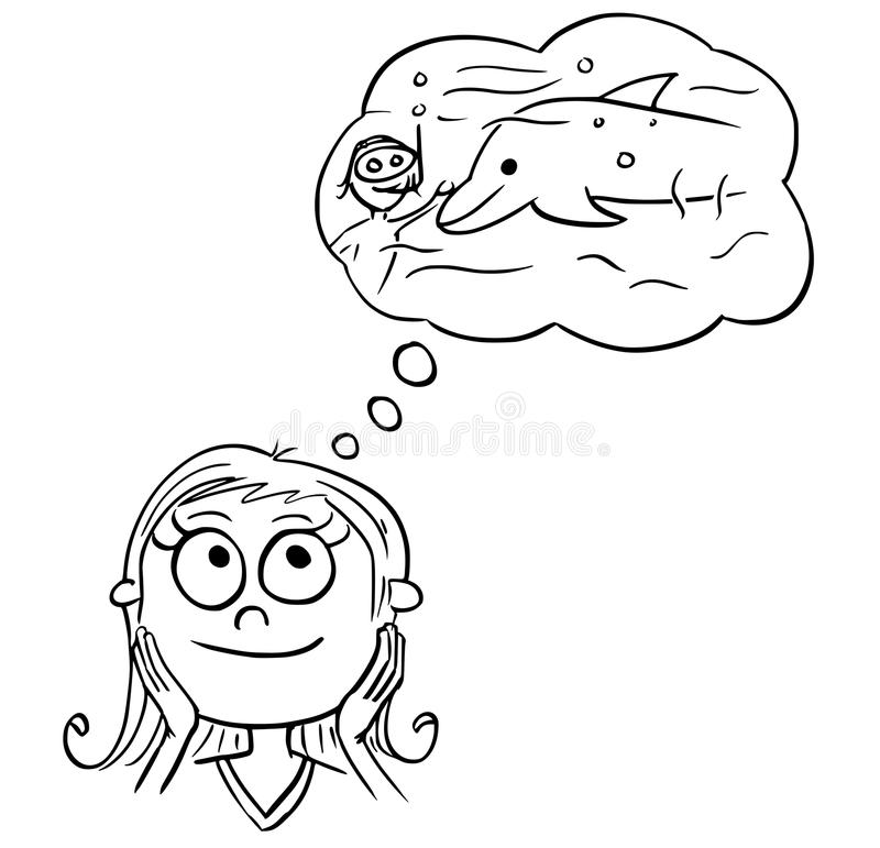 Cartoon Illustration of Girl Dreaming About Swimming vector illustration